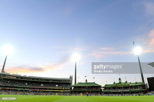 The Sydney Cricket Ground is seen at dusk during game three of the One Day International series between Australia and England at Sydney Cricket...