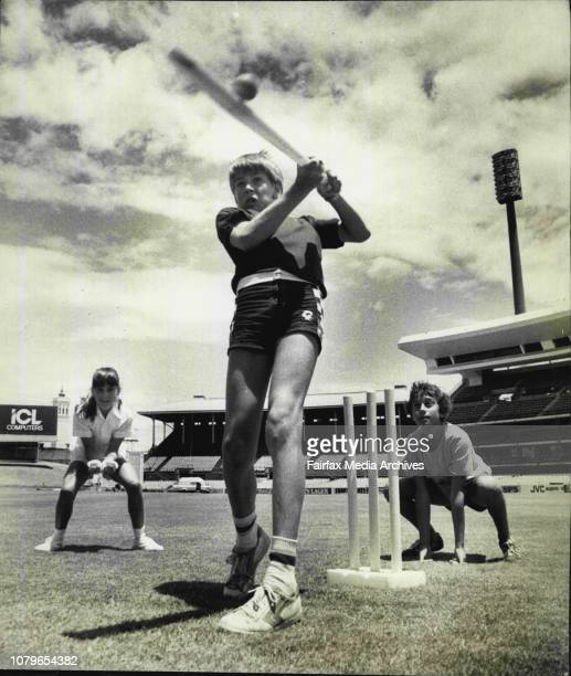 The Sydney Cricket Ground two days before the final test against the Windies Pictured is Cameron Hale hitting a six with David Lewis and Penny Rogers...