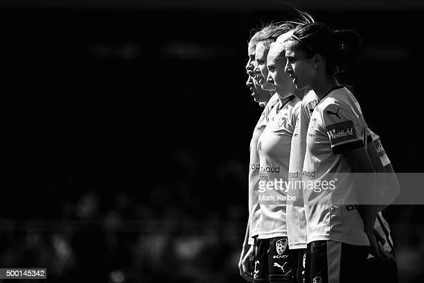 The Sydney FC defenders form a wall during the round eight WLeague match between Sydney FC and the Western Sydney Wanderers at Lambert Park on...