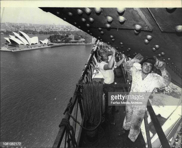 The Sydney Harbour Bridge is at present undergoing its fifth repainting since it was opened in 1932Painters from the Main Roads Department Sydney...
