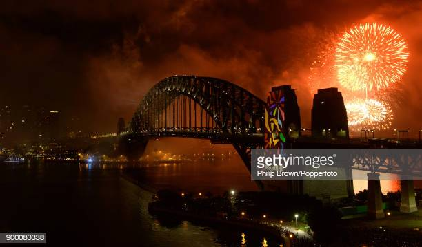 The Sydney Harbour Bridge seen during the midnight fireworks display on New Year's Eve on Sydney Harbour on 1st of January 2018 in Sydney Australia