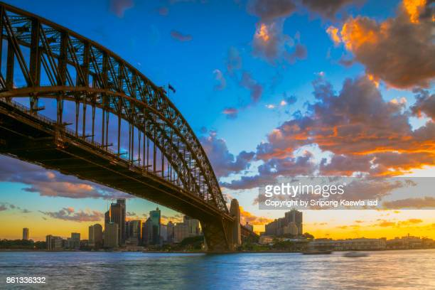 The Sydney Harbour Bridge view from the Milsons Point during the beautiful sunset, Australia.
