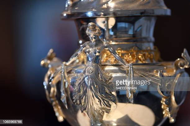 The Sydney Hobart Yacht Race trophy is seen at an official media launch for the 2018 race in Sydney on November 28 2018 / IMAGE RESTRICTED TO...
