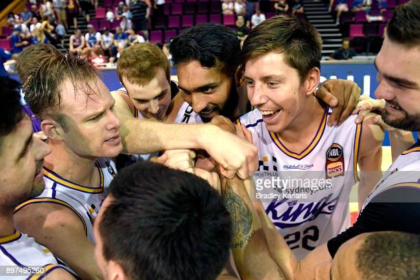 The Sydney Kings celebrate victory after the round 11 NBL match between the Brisbane Bullets and the Sydney Kings at Brisbane Convention Exhibition...