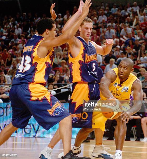 The Sydney Kings' Rolan Roberts attempts to get the ball past the defence of the West Sydney Razorbacks at Homebush 19 November 2005 SHD NEWS Picture...
