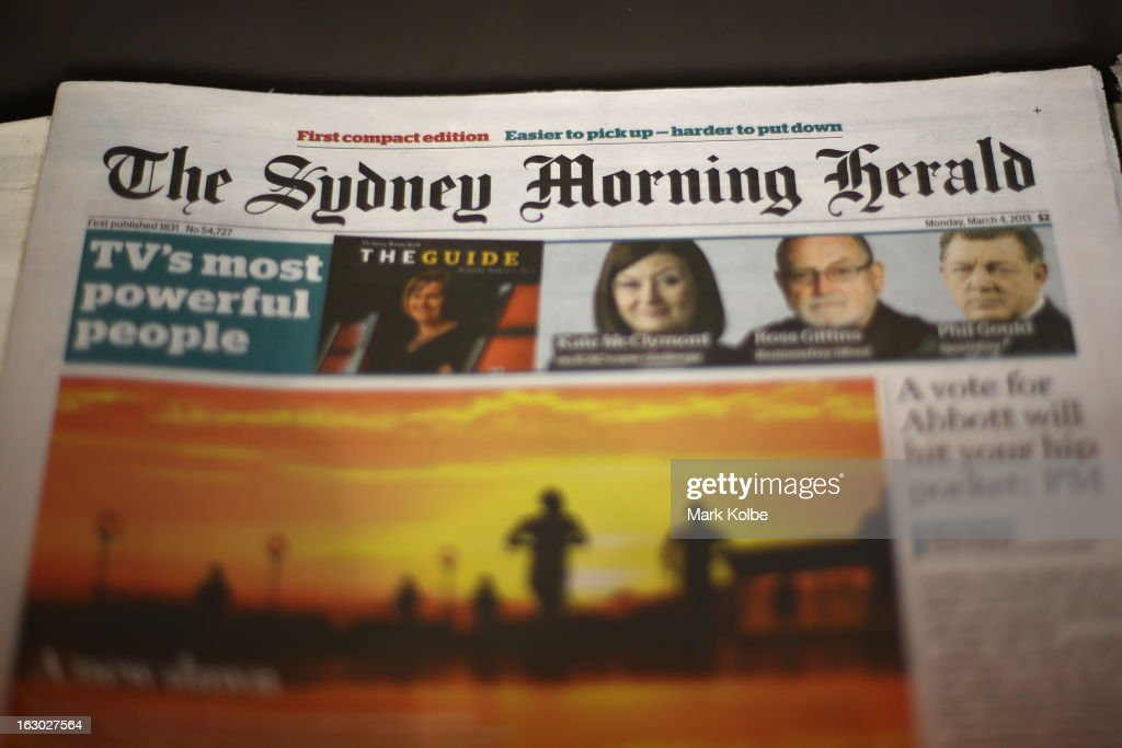 The Sydney Morning Herald's first compact edition front page is seen on March 4, 2013 in Sydney, Australia. The Sydney Morning Herald and The Melbourne Age published their first tabloid size editions today, after 180 years of producing weekday broadsheets.