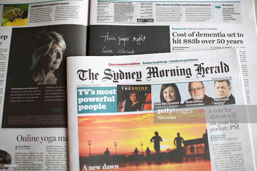 The Sydney Morning Herald's first compact edition is seen on March 4, 2013 in Sydney, Australia. The Sydney Morning Herald and The Melbourne Age published their first tabloid size editions today, after 180 years of producing weekday broadsheets.