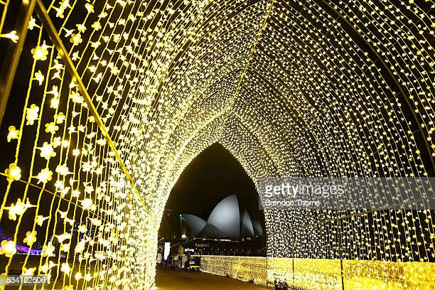 The Sydney Opera House is seen from inside the 'Cathedral of Light' at The Royal Botanic Gardens on May 25 2016 in Sydney Australia Held annually...
