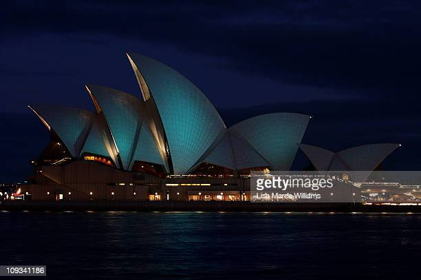 The Sydney Opera House sails are illuminated for Teal Ribbon Day in honor of women who have lost the battle with ovarian cancer on February 22 2011...