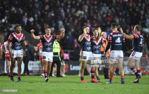The Sydney Roosters players celebrate victory after the World Club Series Final between St Helens at Totally Wicked Stadium on February 22, 2020 in...