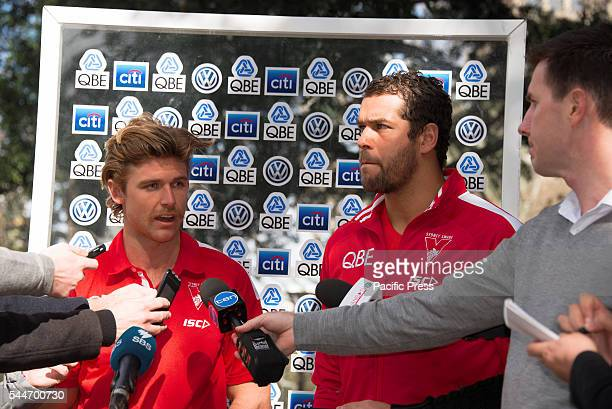 PARK SYDNEY NSW AUSTRALIA The Sydney Swan's Dane Rampe speaks to the media at the launch of their Reconciliation Action Plan along with players Lance...