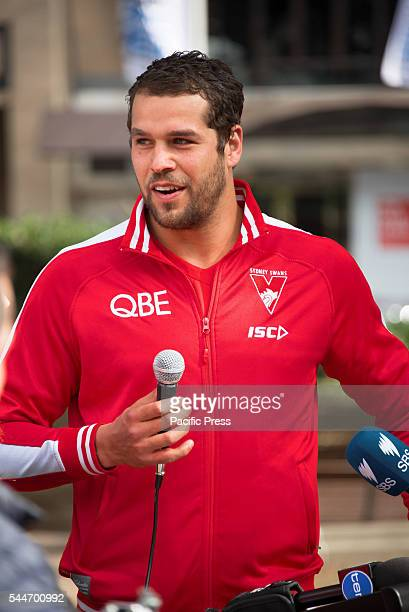 PARK SYDNEY NSW AUSTRALIA The Sydney Swan's Lance Franklin speaks to the media at the launch of their Reconciliation Action Plan along with Dane...