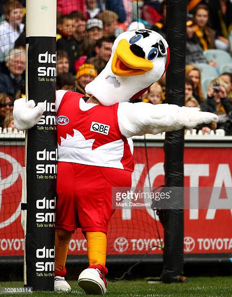 The Sydney Swans mascot plays up to the Richmond fans before the round 14 AFL match between the Richmond Tigers and the Sydney Swans at Melbourne...