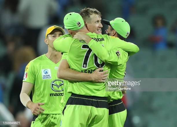 The Sydney Thunder celebrate after they defeated the Strikers during the Big bash League Finals match between the Adelaide Strikers and the Sydney...