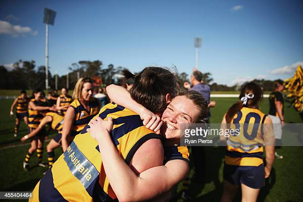 The Sydney University Bombers celebrate victory during the Sydney Women's AFL Grand Final match between Sydney University and UNSW/ES Stingrays at...