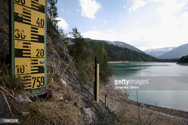 The Sylvensteinspeicher reservoir is seen with a very low lake level on April 26 near Lenggries Germany The reservoir which is embedded in the...