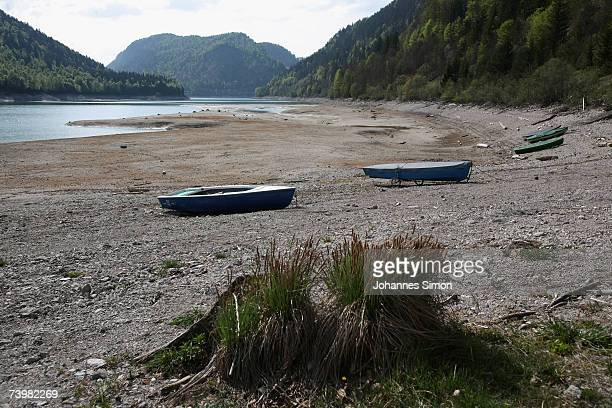 The Sylvensteinspeicher reservoir shows very low lake level on April 26 near Lenggries Germany The reservoirembedded in the Bavarian Alps and...
