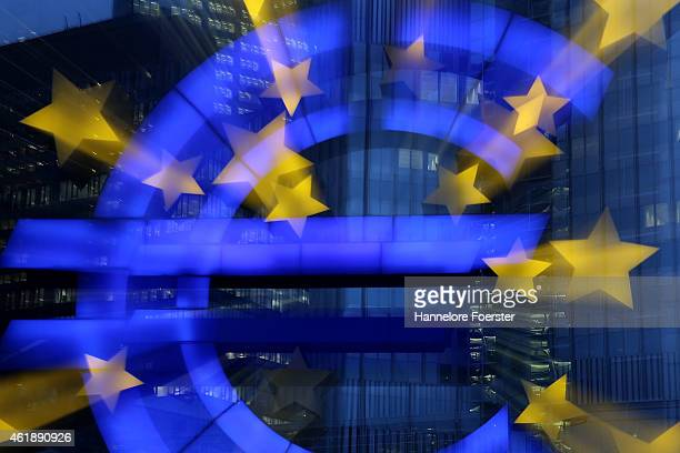 The symbol of the Euro, the currency of the Eurozone, stands illuminated on January 21, 2015 in Frankfurt, Germany. The European Central Bank is...