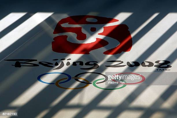 The symbol of the Olympic rings and sybol adorn the wall during previews at the Beijing 2008 Olympic Games on August 3 2008 in Beijing China