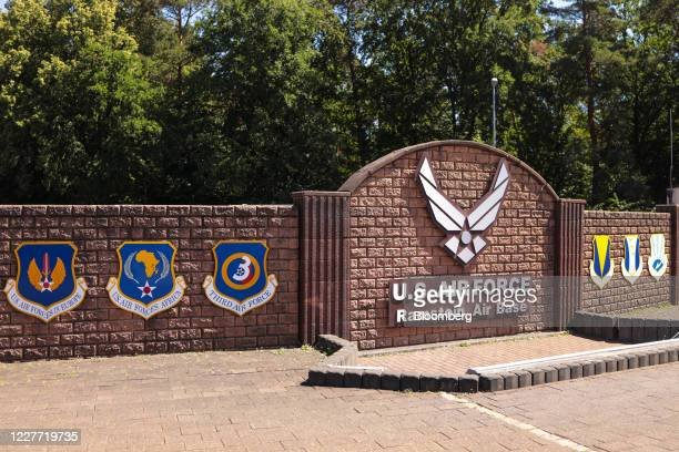 The symbol of the U.S Air Force sits at the Westgate entrance to the Ramstein United States Air Force Airbase in Landstuhl, Germany, on Tuesday, July...