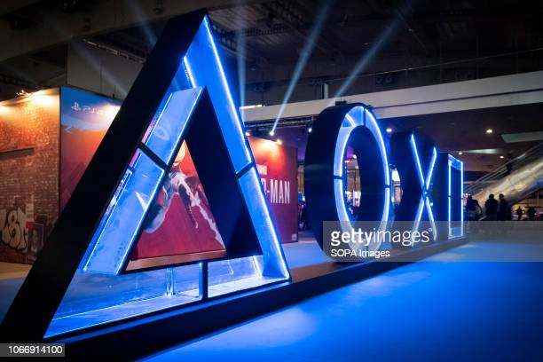 The symbols of the PlayStation keyboard is seen during the fair. The Salon, Barcelona Games World fair, dedicated to the video game industry presents...