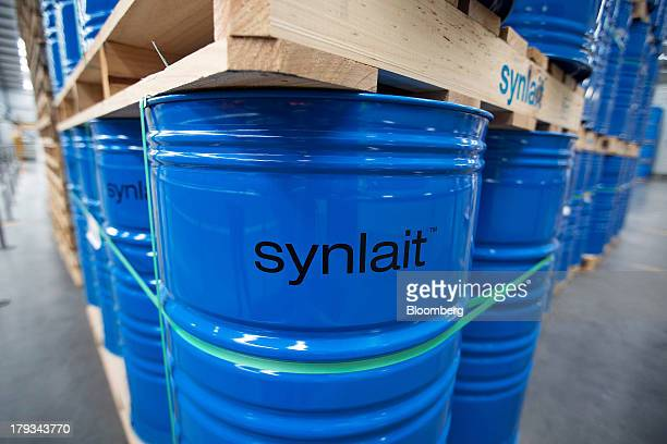 The Synlait Milk Ltd logo is displayed on drums of dairy products at the company's manufacturing plant in the town of Rakaia 60km from Christchurch...