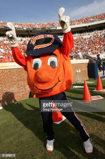 The Syracue Orangeman mascot supports his team as they were defeated by the Virginia Cavaliers 31-10 at Scott Stadium on September 25, 2004 in...