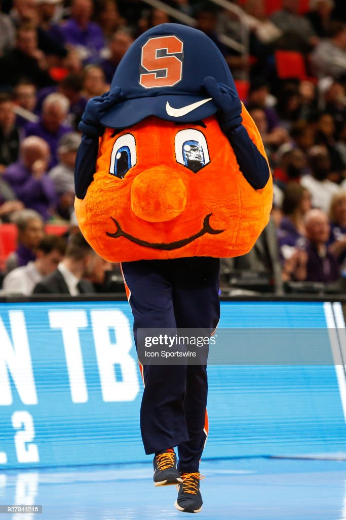 The Syracuse Mascot Entertains During A Timeout During The Ncaa
