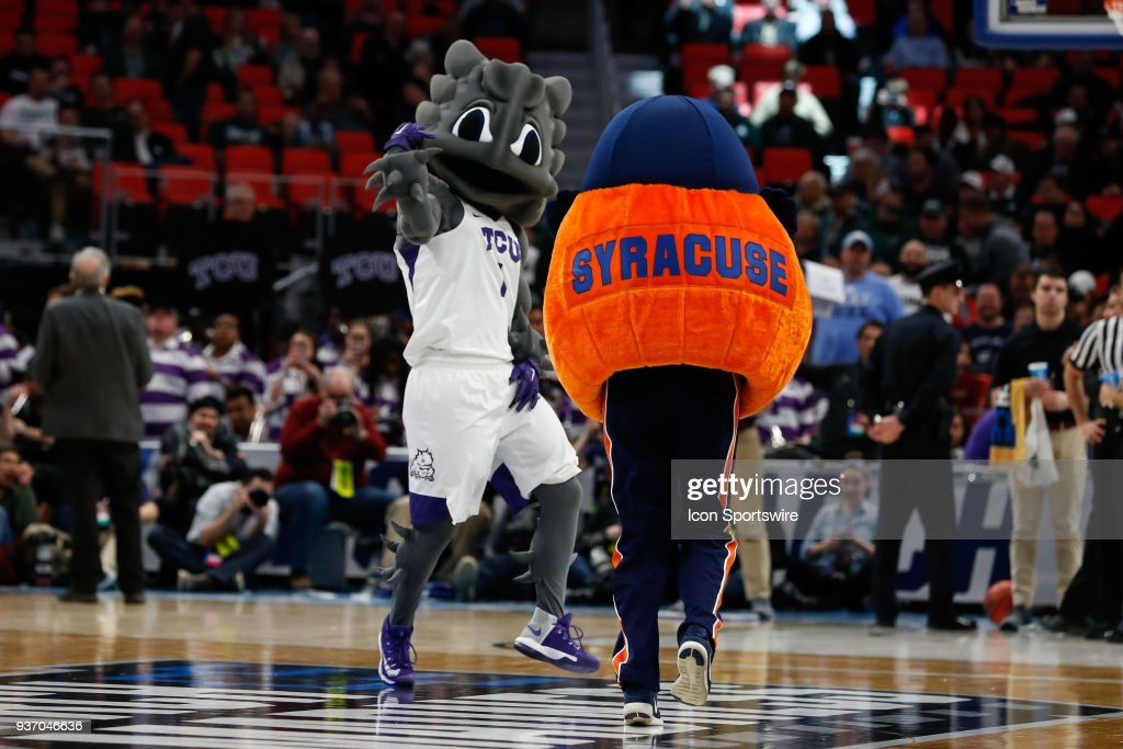 The Syracuse Orange And Tcu Mascots Entertain During A Timeout