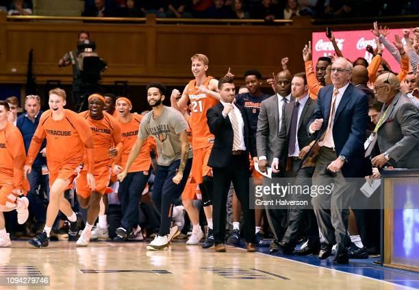 The Syracuse Orange celebrate after a win against the Duke Blue Devils at Cameron Indoor Stadium on January 14 2019 in Durham North Carolina Syracuse...