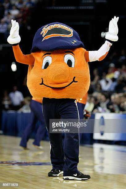 The Syracuse Orange mascot performs during a break in the game against the Oklahoma Sooners in the first half during the NCAA Men's Basketball...