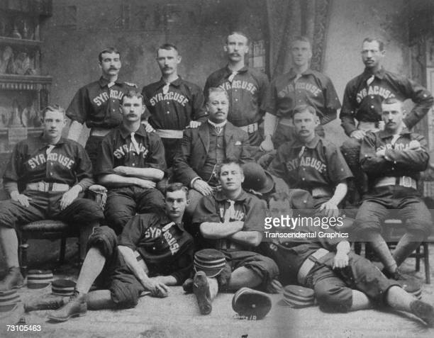 The Syracuse Stars Base Ball Club poses for a team portrait in 1889 Negro baseball pioneer Moses Fleetwood Walker is in the back row far right