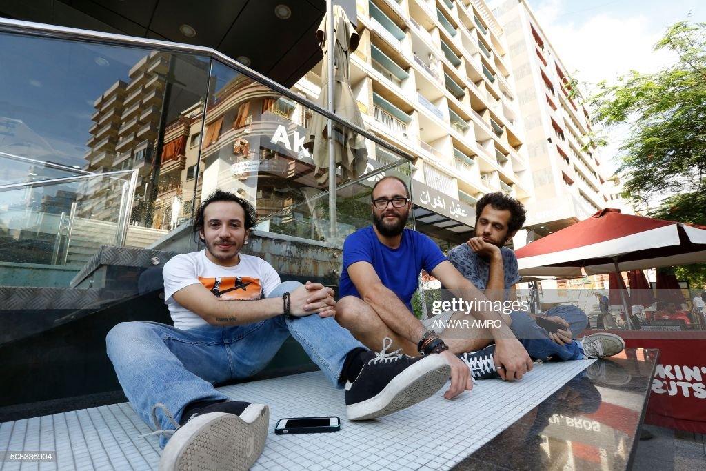 The Syrian group Tanjaret Daghet (members: Khaled Omran, Tarek Khuluki and Dani Shukri) pose September 28, 2015, in Hamra Street in Beirut. AMRO