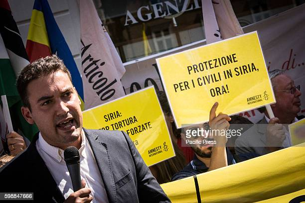 The Syrian writer Shady Hamadi during the demonstration From Amnesty to UNICEF Article 21 to the FNSI policy a sitin in Rome in Piazza SS Apostoli...