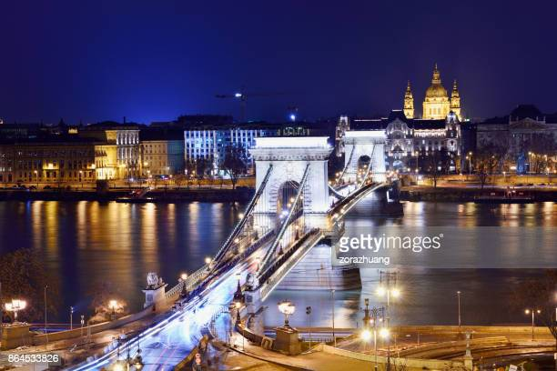 The Széchenyi Chain Bridge and Budapest Cityscape, Hungary