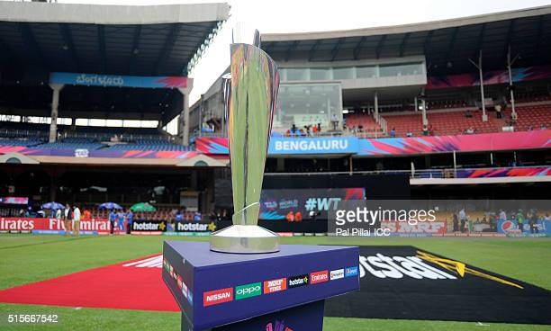 The T20 World Cup Trophy during the Women's ICC World Twenty20 India 2016 match between India and Bangladesh at the Chinnaswamy stadium on March 15...