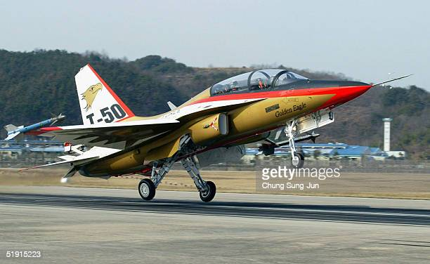 The T50 Golden Eagle South Korea's first supersonic aircraft at Sachun air force base taking off on a test flight on January 5 in Sachun South Korea...