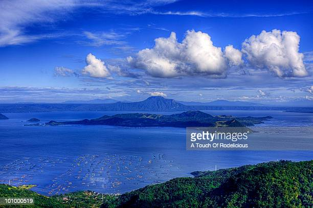 the taal volcano viewed fromtagaytay city - taal volcano stock photos and pictures