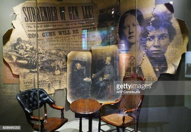 The table and chairs used by Union Army commanding general Ulysses S Grant and Confederate commanding general Robert E Lee at the surrender in...