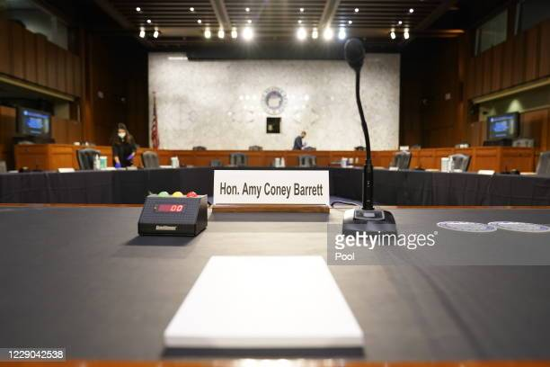 The table is set up for the second day of the Supreme Court confirmation hearing for Judge Amy Coney Barrett before the Senate Judiciary Committee on...