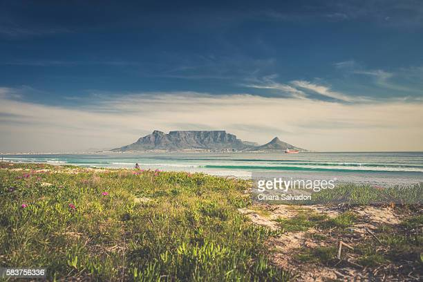 the table mountain from big bay beach, south africa - table mountain stock pictures, royalty-free photos & images