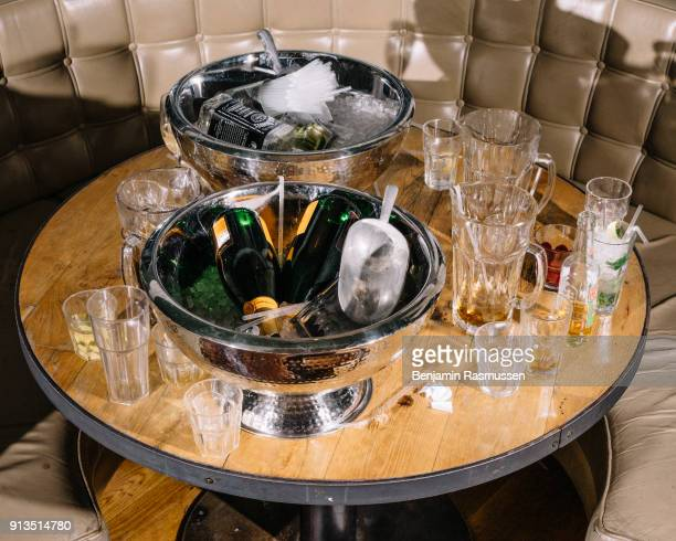 The table of a group of magicians after a night of drinking in Blackpool on February 19 2016 The most talented and innovative magicians in the world...