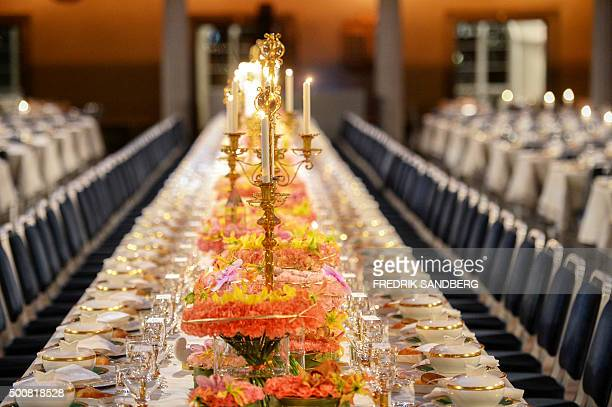 The Table of Honour is pictured prior to the 2015 Nobel prize award banquet in Stockholm City Hall on December 10 2015 AFP PHOTO / TT NEWS AGENCY /...