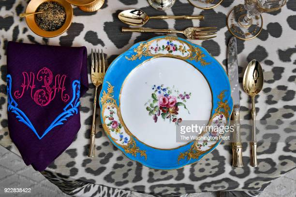 The table setting titled Le Diner Exotique by Alex Papachristidis features Marjorie Merriweather Post's French Sèvres circa 1768 along with a custom...