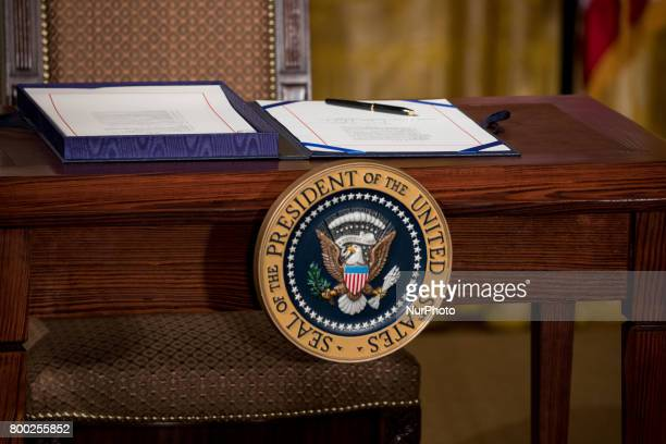 The table with the Presidential seal where President Donald Trump will sign the Department of Veterans Affairs Accountability and Whistleblower...
