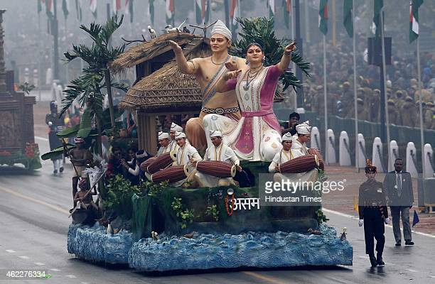 The tableau of Indian State of Assam march past during the ceremony of 66th Republic Day of India at Rajpath on January 26 2015 in New Delhi India...