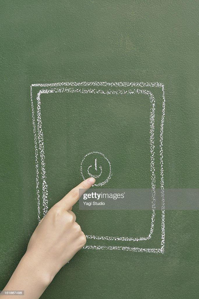 The tablet which is drawn on the blackboard and wo : Stockfoto