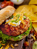 taco seasoned burger with salsa sour