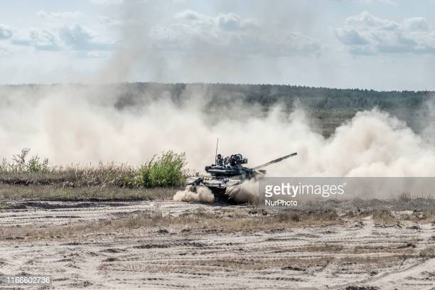 The tactical training for the tank forces of the Ukrainian Army performs at the proving grounds in Honcharivske Chernihiv Oblast Ukraine on September...
