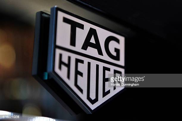 The TAG Heuer logo is displayed during Baselworld on March 16 2016 in Basel Switzerland Held annually Baselworld is the most important watch and...